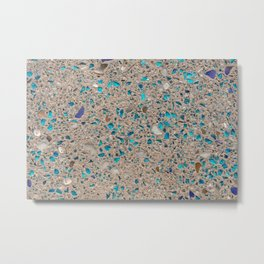 Colorful recycled glass for construction of concrete sidewalk Metal Print