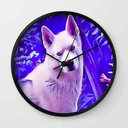 Isabella White Siberian Husky Wall Clock
