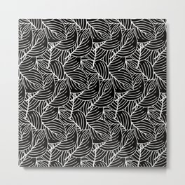 Simple Leaves Pattern- White on Black -Mix & Match with Simplicity of life Metal Print
