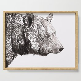 Bear Ink Drawing Serving Tray