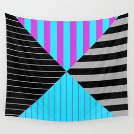 Stripes Quadrant - Purple, blue, black and grey stripes pattern Wall Tapestry