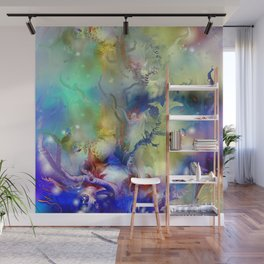 Coral Reef Yellow Blue Wall Mural