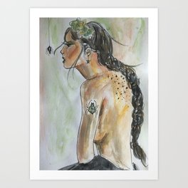 Witchy Creepy Spider Gal Fairytale Sorceress with Star Tattoo Watercolor by Imaginarium Arts Art Print