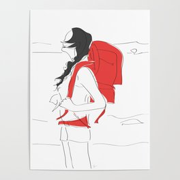 Backpacking Travel Girl Poster