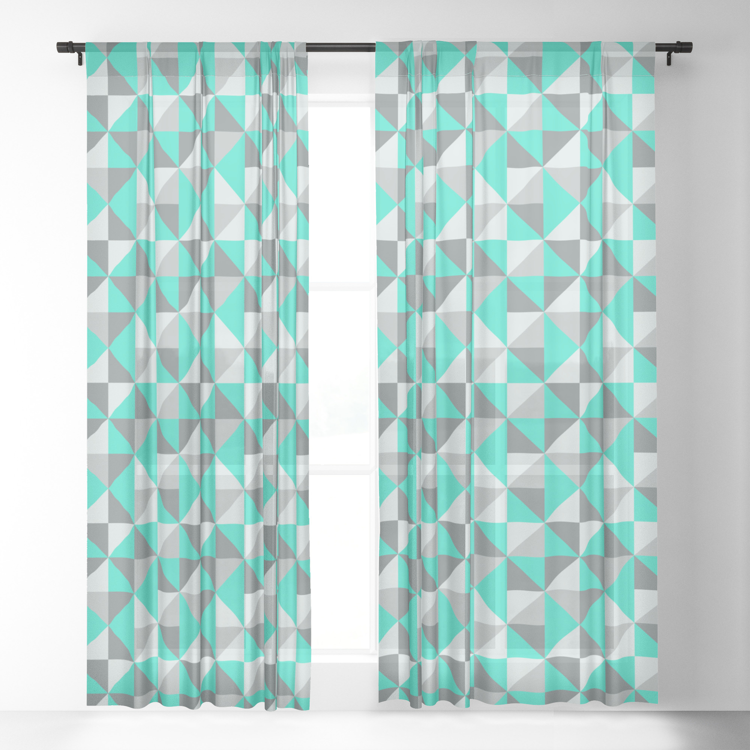 Aqua And Grey Retro Inspired Pattern
