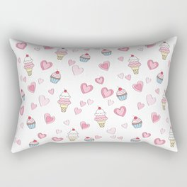 BellaRina - Cupcakes, Ice Cream & Hearts Pattern Rectangular Pillow