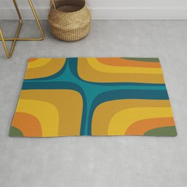 Retro Groove Mustard Teal - Minimalist Mid Century Abstract Pattern Rug