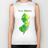 new jersey Biker Tanks featuring New Jersey Map by Roger Wedegis