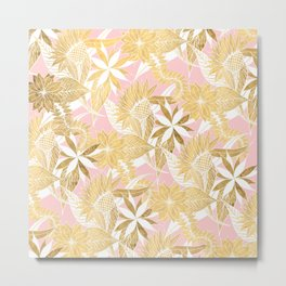 Chic Elegant Gold Pink White Flowers and Leaves Metal Print