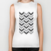 gray pattern Biker Tanks featuring Gray Chevron Pattern by magnez2