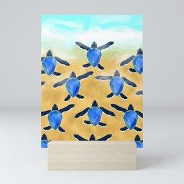 Leatherback sea turtle - Blue sapphire Mini Art Print