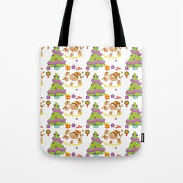 Hand painted green red Merry Christmas holiday typography pattern Tote Bag