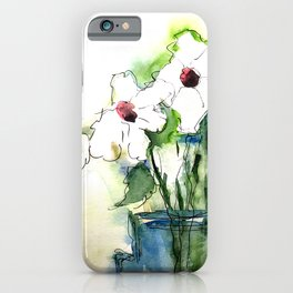 Watercolor White Flowers Bouquet Art iPhone Case