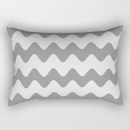 Pantone Pewter Gray Soft Zigzag Rippled Horizontal Line Pattern Rectangular Pillow