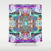 rave Shower Curtains featuring RATE RAVE by Riot Clothing