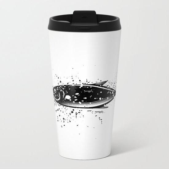 Fish black and white Metal Travel Mug