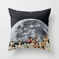 collage Throw Pillows featuring MOONRISE  by Beth Hoeckel