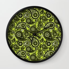 Lime Green Paisley Pattern Wall Clock