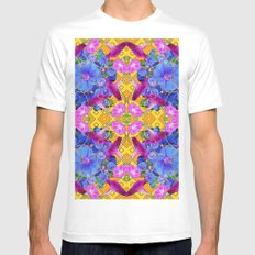 Contemporary  Purple White MEDIUM Mens Fitted Tee