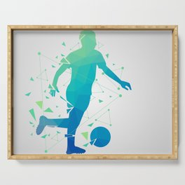 Abstract Soccer Player Serving Tray