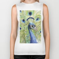 peacock Biker Tanks featuring Peacock by Olechka