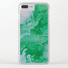 Turquoise & Blue Painted Marble Clear iPhone Case
