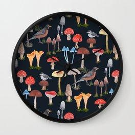 Birds and Mushrooms Wall Clock
