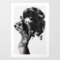bear Art Prints featuring Bear #2 by Jenny Liz Rome