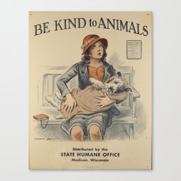 Be Kind To Animals 4 Canvas Print