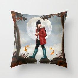 Under the moonlight Throw Pillow