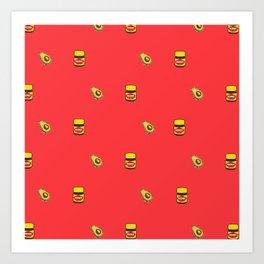 Vegemite & Avocado Repeat Print  Art Print