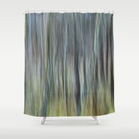 striped Shower Curtains featuring striped canvas by Bonnie Jakobsen-Martin