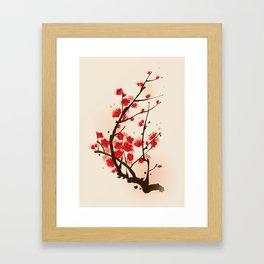Oriental plum blossom in spring 012 Framed Art Print