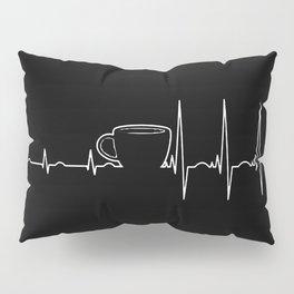 Coffee cardiac in black Pillow Sham