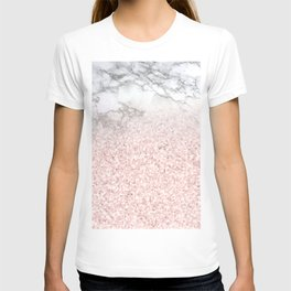 She Sparkles - Pastel Pink Glitter Rose Gold Marble T-shirt