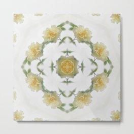 Creamy Yellow Rose Kaleidoscope Art 1 Metal Print