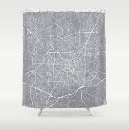 Greensboro Map, North Carolina USA - Pewter Shower Curtain