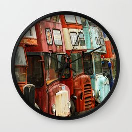 London Busses with Patina Wall Clock