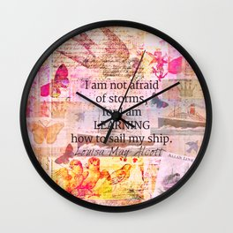 Louisa May Alcott inpirational STORM quote Wall Clock