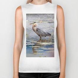 Heron wading Biker Tank