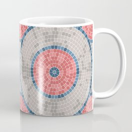 Rustic Farmhouse Mosaic Tile Geometric Pattern Faded  Red Navy Blue Gray Coffee Mug