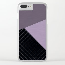 Combined lilac, black, pattern. patchwork. Clear iPhone Case