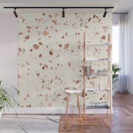 Rose Gold and Cream Terrazzo Wall Mural