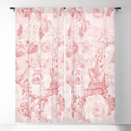 Modern rustic blush pink white watercolor floral Blackout Curtain