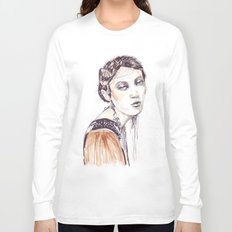 Fashion illustration with golden watercolors Long Sleeve T-shirt