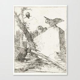 Post title for Scherzi di fantasia with owls on a stone, Giovanni Battista Tiepolo, at or before c. Canvas Print