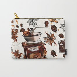 Coffee watercolor pattern with grains coffee mill and chocolate Carry-All Pouch