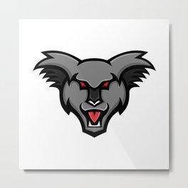 Angry Koala Head Mascot Metal Print