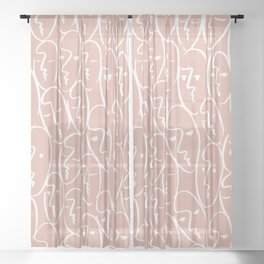 faces / pink Sheer Curtain