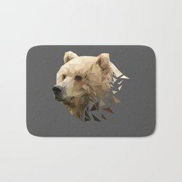 Low Poly Bear--Grey Bath Mat